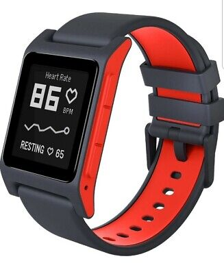 New Pebble 2 Hr Heart Rate Smart Watch Iphone Or Android Black And Flame Red