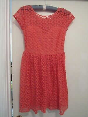 Artelier Coral Flower Lace Dress Size 4 Sweetheart Neckline