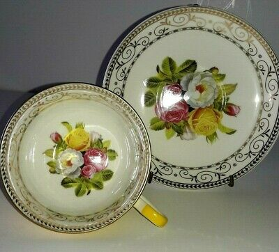 Grace's Teaware Yellow Porcelain Cup & Saucer Shabby Cottage Roses NEW