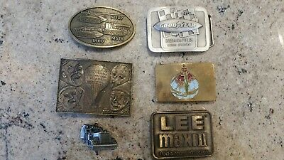 Lot Of 6 Vintage Belt Buckles Goodyear, Lee, Military, Barnum & Bailey's circus
