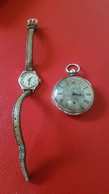 Antique silver fob pocket watch & Womans Wrist Watch