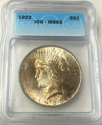 1923 Peace Silver Dollar Icg Ms 65