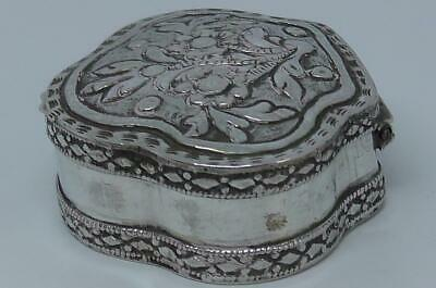 White Metal Embossed Pill/Trinket Box