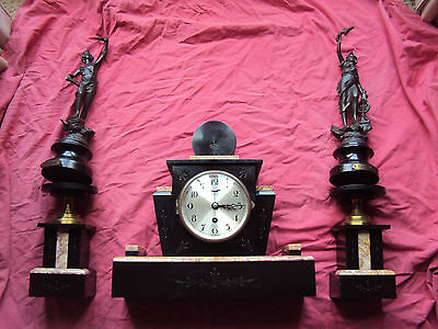 Fht Antique Marble Mantle Clock, Matching Stands And Figures  Art Deco