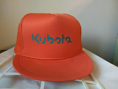 85abedd98da Vintage Mesh KUBOTA Tractor Adjustable Snapback Cap Orange Hat Trucker  Farmer