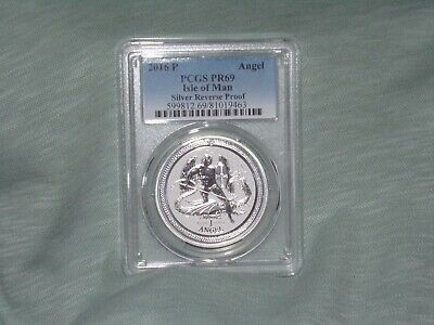 2016 - P PCGS PR69 Isle of Man 1oz Silver Angel  Reverse Proof