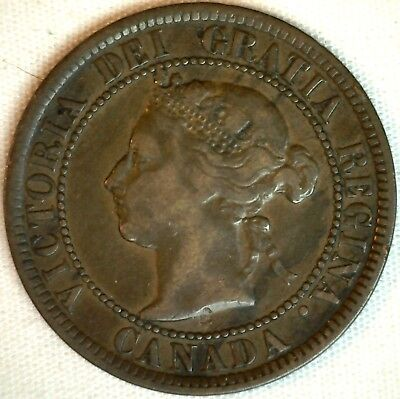 1884 Copper Canadian Large Cent One Cent Coin Fine #13