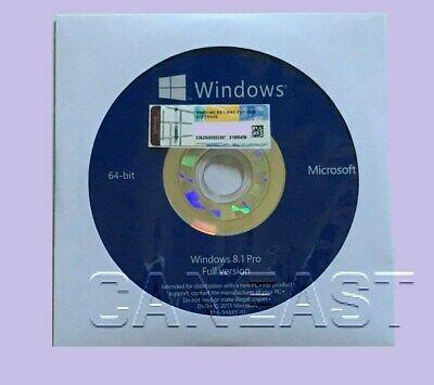 Microsoft Windows 8.1 PRO Professional 64bit DVD + COA Product Key + Hardware