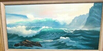 Llyoyd Mckay Original Oil On Canvas California Coastal  Seascape Painting
