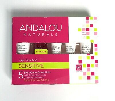 Andalou Naturals Get Started Sensitive Skin Care Essentials 5 Piece Kit Pink NEW