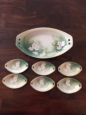 Vintage Floral Relish Celery Dish Tray With 6 Salt Dippers RS Germany