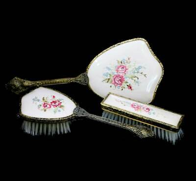 Vintage petit point embroidered vanity set inc large mirror, hairbrush & clothes