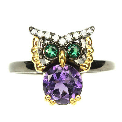 Round Cut 7mm Purple Amethyst Cubic Zirconia 925 Sterling Silver Owl Ring Size 7