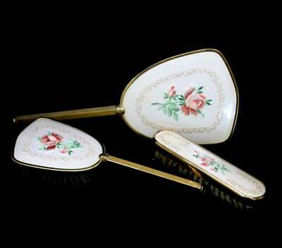 Vintage 3 piece cream & pink embroidered roses vanity set mirror brushes