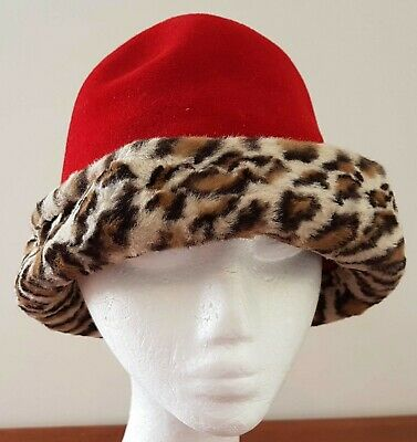 Vintage 60s Styled by MICHELE Felted RED Wool Leopard Fur Trim Cloche Day HAT