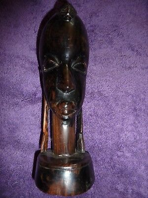African Tribal Head Sculpture Well Carved Hard Wood Authentic