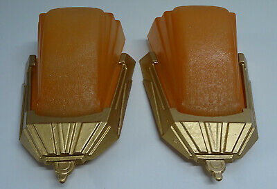 Art Deco Slip Shade Wall Sconce/Light Orange X 2