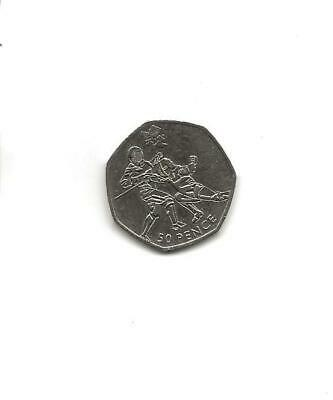 """2011 London 2012 Olympic Games, Fifty Pence 50p Coin - """"Fencing"""" - Circulated"""