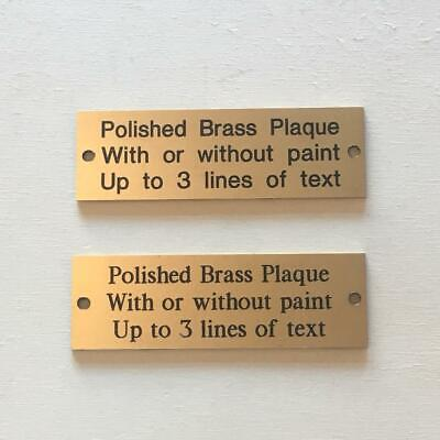 Solid Polished Brass Plaque - 75 by 25 mm - 3 by 1 inch - Engraved