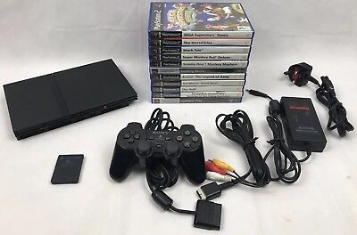 Sony PlayStation 2 PS2 Black Slim Console SCPH-70003 Bundle Set Up + Games #1