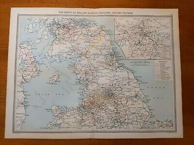 Antique Map c.1906 - North of Engalnd: Railway Systems - Harmsworth Atlas