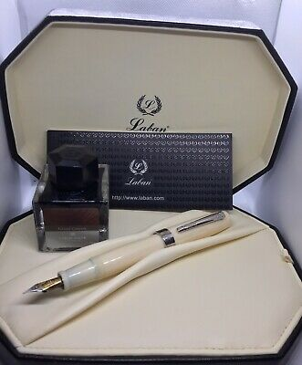 Luxury Ivory Laban Fountain Pen (Made in Italy)+ New Caran D'ache Ink Bottle