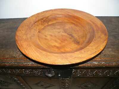 Striking Large Vintage Hand Turned Patinated Fruit Wood Broad Rimmed Bowl/dish