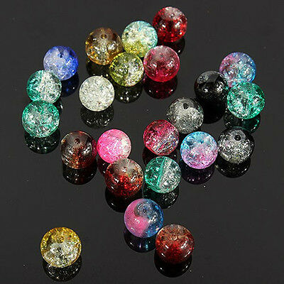 4/6/8/10/12mm Round Clear Crackle Art Crystal Glass Charm Bead DIY Craft Finding