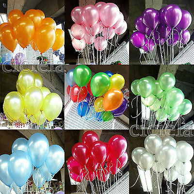 100 Pcs Colorful Pearl Latex Balloons Celebration Party Wedding Birthday 10 Inch