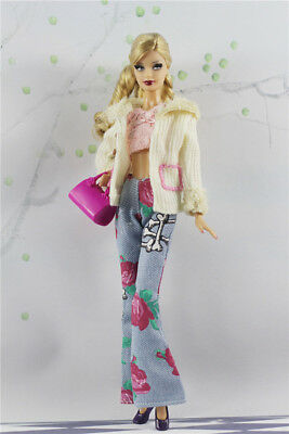 5in1  Fashion Coat+Vest+Pants+Shoes+Bag FOR 11.5in.Doll Clothes Outfit Girl Gift
