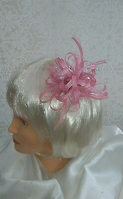 shimmer pink fascinator with clear jewels NEW