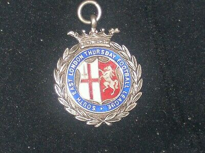 solid silver and enamel fob watch medal.on it div 1 r.u.1933.4