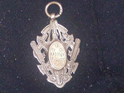 solid silver and gold fob watch medal on it c.s.u.e.e.ah.figgins 1910