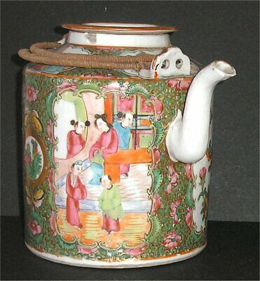 Qing Period Chinese Famille Rose Figural Canton Medallion Large Teapot & Lid