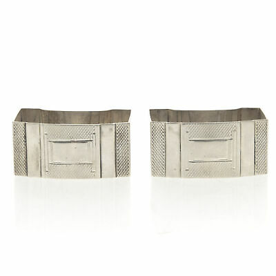 Art Deco Pair of Sterling Silver Napkin Rings Walker & Hall England 1937