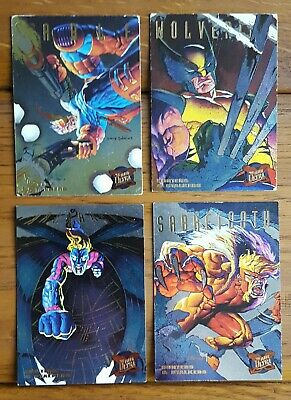 4 X Men Fleer Ultra Shiny TRADING CARDS hunters and stalkers 1994 marvel