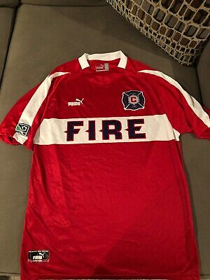 b98ccc3d12b Puma Chicago Fire Jersey Best Buy Blanco Era MLS Red Men s L Vintage Rare