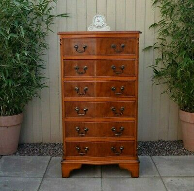 Gorgeous Vintage Yew Serpentine Chest of Drawers Tall Antique Georgian Style