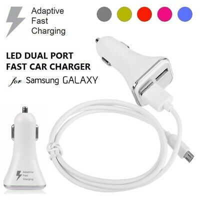 Samsung Adaptive Fast Charging Led Car Charger Dual For S10 S9 S8 S7 A8 A5 Note