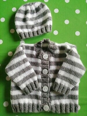 Baby Boys Handknitted Cardigan & Hat set, Size Newborn