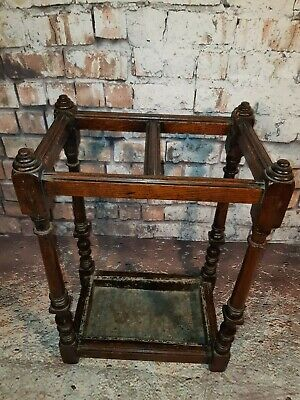 Antique Victorian Edwardian Old Solid  Wooden Oak Umbrella Stick Stand Hallway
