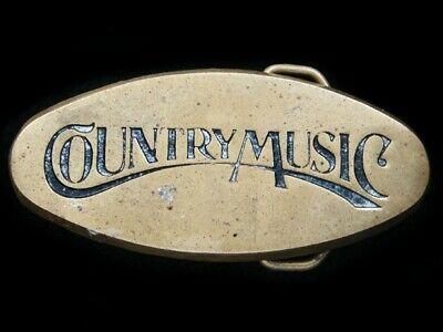 RI03121 VINTAGE 1970s **COUNTRY MUSIC** COMMEMORATIVE SOLID BRASS BELT BUCKLE