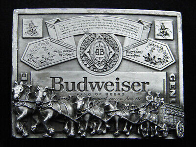 RI03139 VINTAGE 1970s **BUDWEISER CLYDESDALES** BEER ADVERTISEMENT BELT BUCKLE