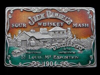 RK09133 *NOS* VINTAGE 1970s **JACK DANIEL'S WHISKEY** BOOZE ADVERTISEMENT BUCKLE