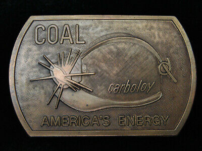 QH03102 VINTAGE 1970s **COAL CARBOLOY AMERICA'S ENERGY** MINING BELT BUCKLE