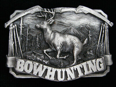 Qc15103 Vintage 1983 **Bowhunting** Commemorative Pewter Bergamot Belt Buckle