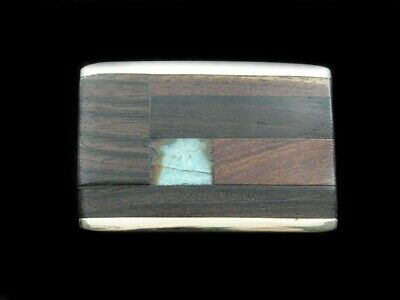 RG09137 GREAT VINTAGE 1970s **WOOD & STONE ABSTRACT ART** SOLID BRASS BUCKLE