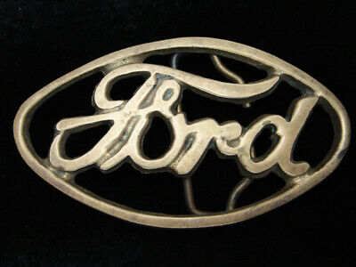 QH03125 VINTAGE 1970s *FORD* MOTOR COMPANY SOLID BRASS ADVERTISEMENT BELT BUCKLE