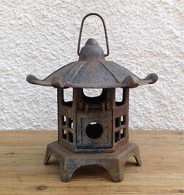 Vintage Cast Iron Pagoda Hanging Garden Lantern Patio Light Candle Holder