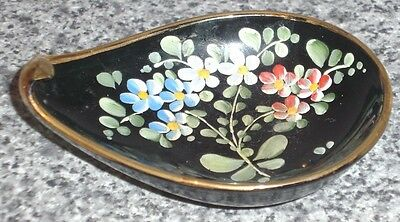 Vintage Italian Hand Painted & Gilded Glass Pin Tray Dish ,mothers Day Antique